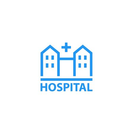 Hospital icon, linear on white Illustration