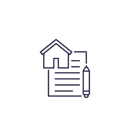 lease contract vector line icon