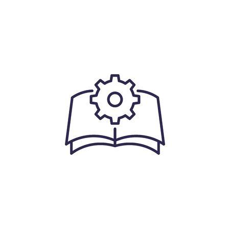 manuel, icône d'instructions, ligne Vecteurs