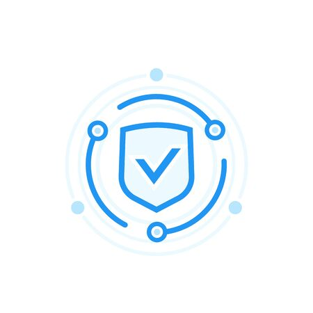 Cybersecurity and data protection concept, vector icon Illustration