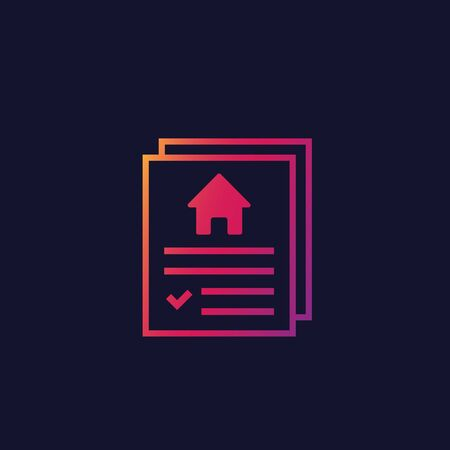 house insurance contract icon, vector