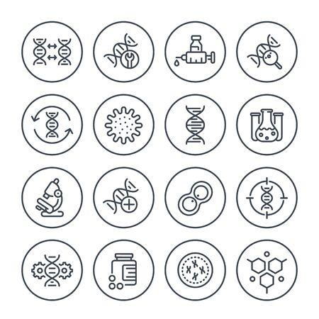 genetica lijn iconen, dna keten, genbewerking en genetisch onderzoek, vector