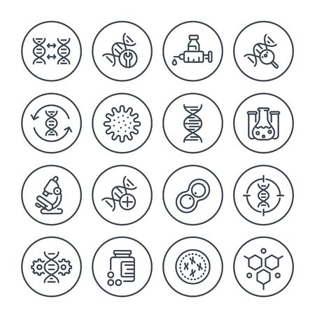 genetics line icons, dna chain, gene editing and genetic research, vector Ilustracja