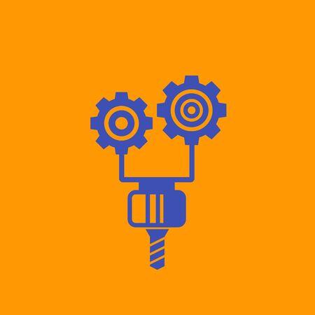 CNC icon, milling machine vector