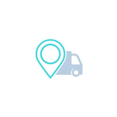 delivery icon with van and marker Illusztráció