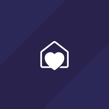 home with heart vector logo icon