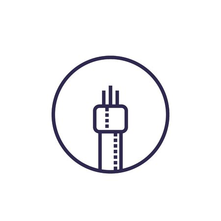 optic fiber cable icon, linear vector