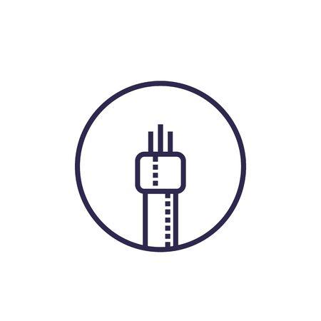 optic fiber cable icon, linear vector