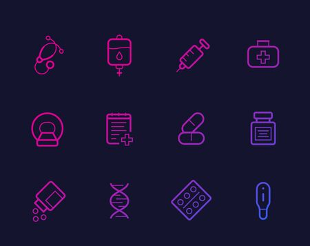 Healthcare, medical icons, linear vector