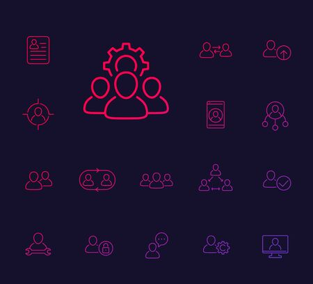 Team, human resources, HR, personnel, collaboration line icons