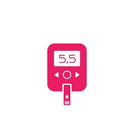 Glucose meter, blood sugar monitor icon, vector