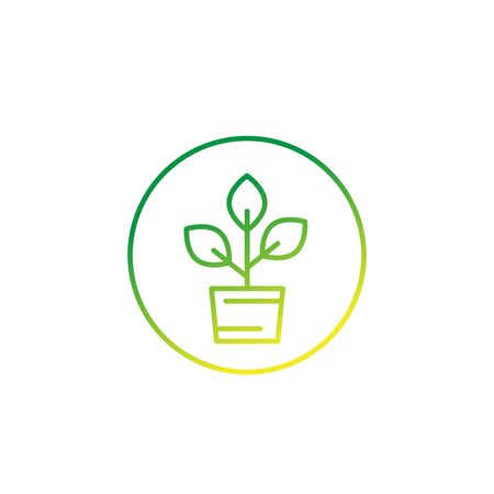 plant in pot, vector line icon Banque d'images - 133833136