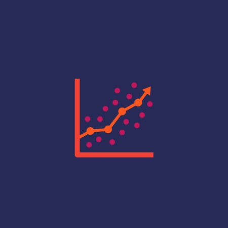 regression analysis icon with graph, chart