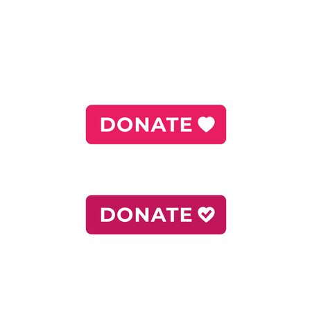 Donate buttons for web and apps, vector flat design Illustration