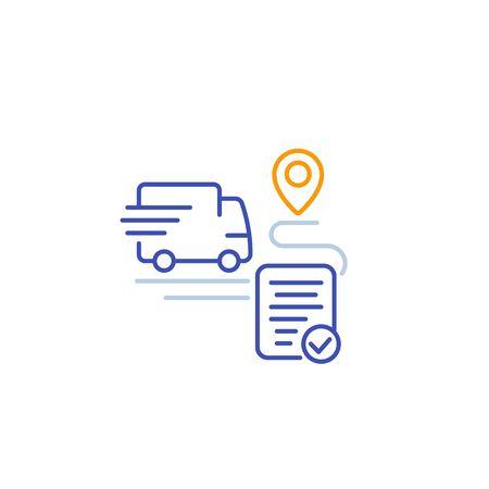 icono de servicio de entrega, furgoneta de transporte y punto de destino, vector lineal