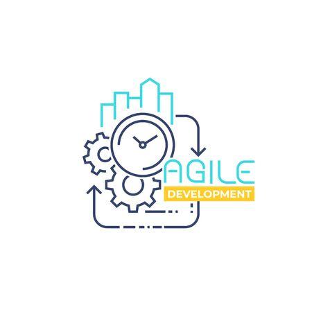 Agile software development, line vector Ilustrace
