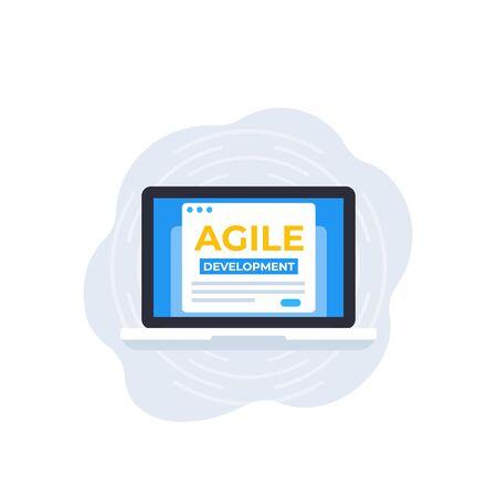 Agile development, vector icon with laptop computer