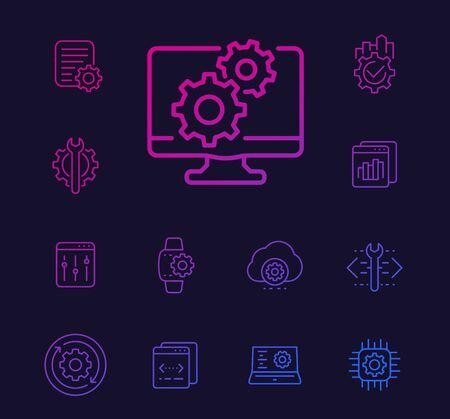 development, configuration service, api or settings linear icons