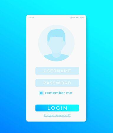 User Login page, mobile app ui vector template