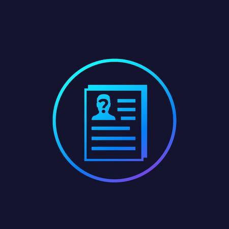 CV, resume, HR concept icon