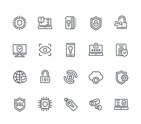 Security and protection line icons on white, secure browsing, cybersecurity, protected data and privacy Illusztráció
