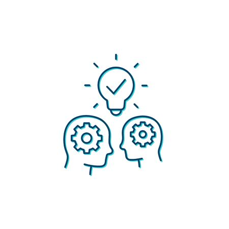 people with ideas, innovators and thinkers, line icon