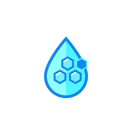 Drop with nanoparticles, vector icon