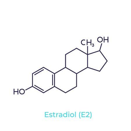 Estradiol molecule on white, vector