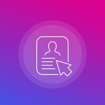 account, profile icon, line Illustration