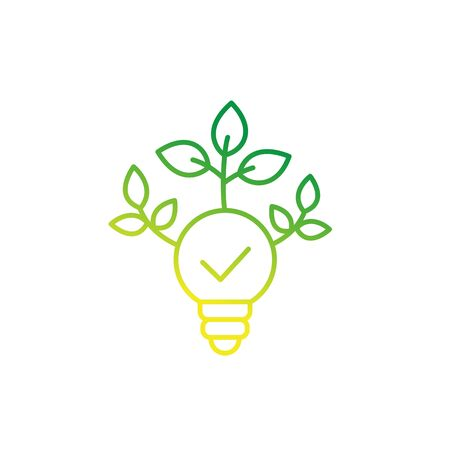 light bulb with green leaves, line icon