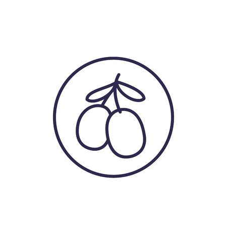 goji berries vector line icon on white