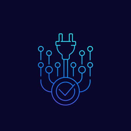 electric plug and check mark, vector line icon