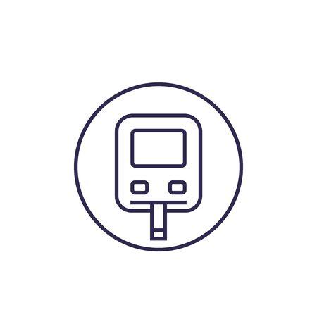 Glucose monitor icon, glucometer line vector