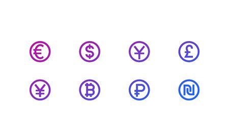 currencies icons, euro, yen, pound, dollar, ruble, yuan, shekel Иллюстрация