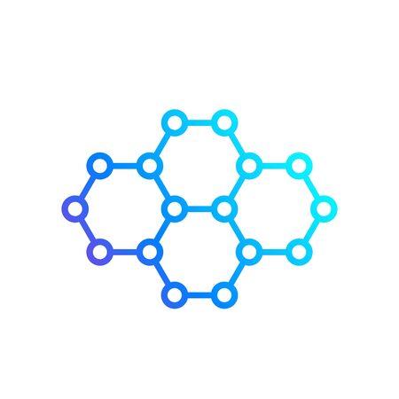 graphene, carbon nano structure vector icon