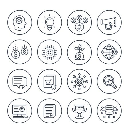 startup line icons set, creative process, idea, initial capital, e-commerce, project growth and analytics