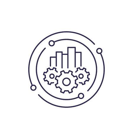 business analytics, line icon