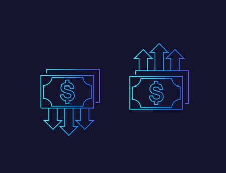 cost reduction and growth, money, linear icons
