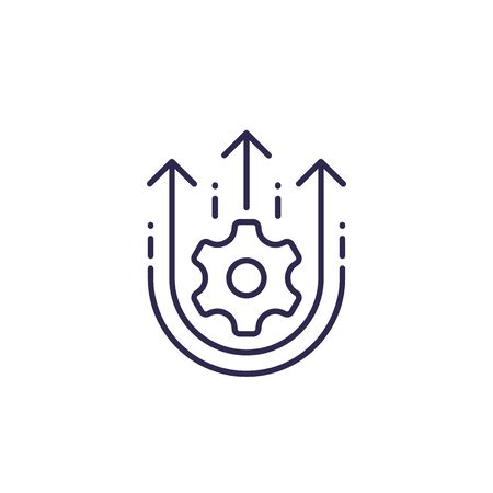 Operational excellence, efficiency, increase in productivity, line icon Illustration