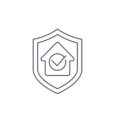 house insurance vector line icon Vektoros illusztráció