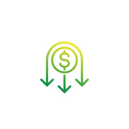 reduce costs icon, line Vektorové ilustrace