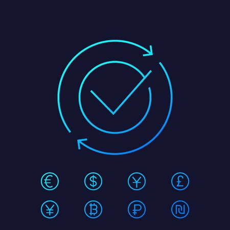 exchange, complete convertation icon, linear