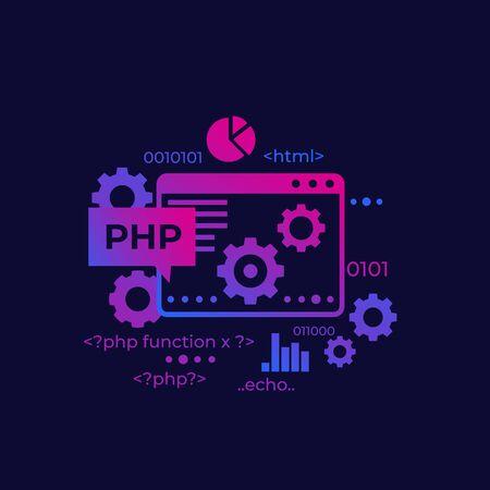 PHP programming and coding, vector Vektorové ilustrace