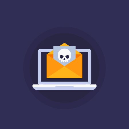 email with virus, phishing vector icon