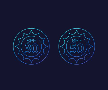 spf 30, 50, sun, UV protection, linear icons