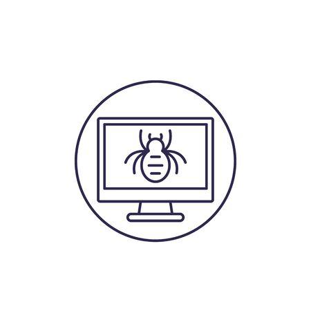 computer bug vector line icon