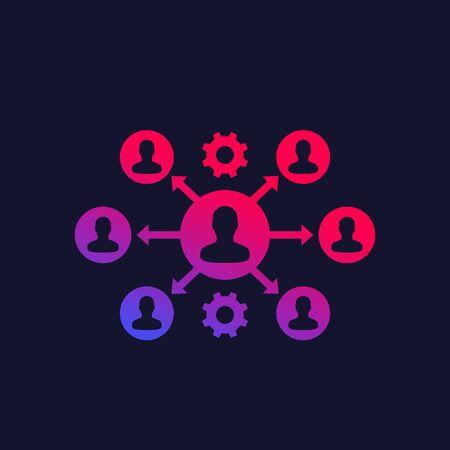icône de vecteur de délégation et de gestion