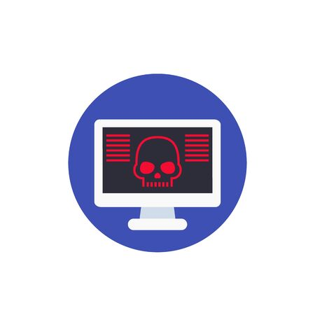 malware, online scam, virus in computer vector icon