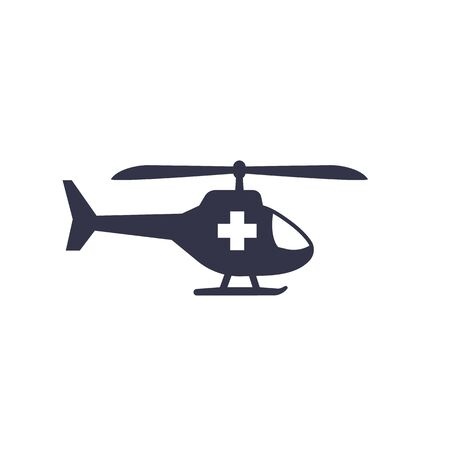 Air ambulance, medical helicopter icon on white