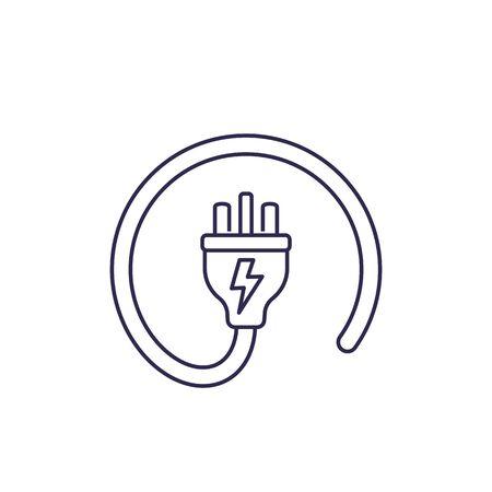 uk electric plug icon, line